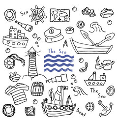 Sea lighthouse ship set vector