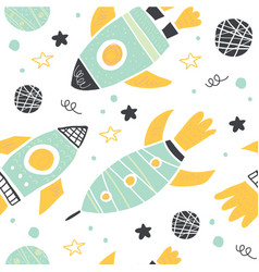 seamless pattern with doodle rockets and planets vector image