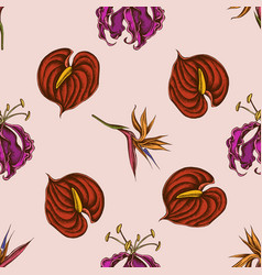seamless pattern with hand drawn colored gloriosa vector image