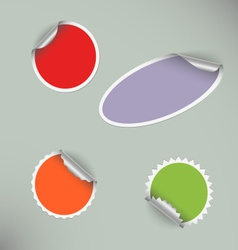 Set of colored blank round stickers vector image