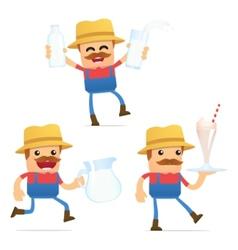 Set of funny cartoon farmer vector