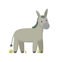 Smiling cartoon donkey character in pastel color vector