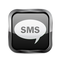 Sms button black glass 3d icon with metal frame vector