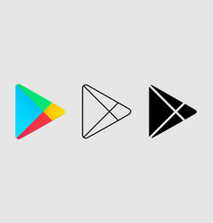 Social media icon set for google play in different vector