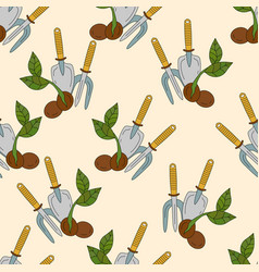 Sprout and garden tools vector
