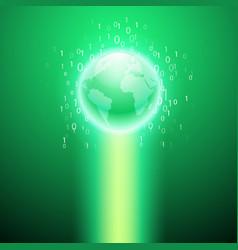 stream of binary code to the globe green vector image