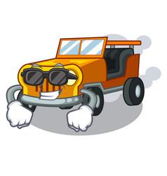 Super cool jeep car in shape mascot vector