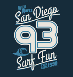 surfing t-shirt graphic design surf lettering san vector image