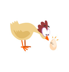 surprised funny hen looking at cracked egg comic vector image