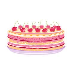 Sweet birthday cake with cherries vector
