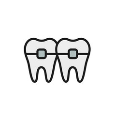 Teeth with braces orthodontics brackets flat vector
