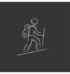 Tourist backpacker Drawn in chalk icon vector