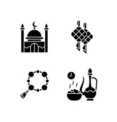 traditional religious muslim items black glyph vector image