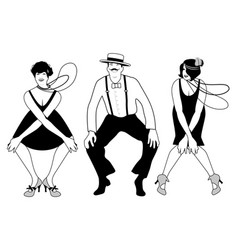Two flapper girls and one man dancing charleston vector