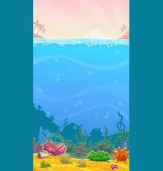 Underwater cartoon vertical empty vector