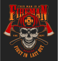 Vintage firefighter colorful label template vector