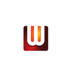 w 3d colorful square letter logo icon design vector image