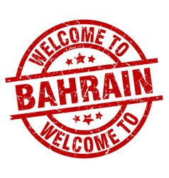 Welcome to bahrain red stamp vector