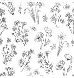 Wild flower pattern floral seamless wallpaper vector