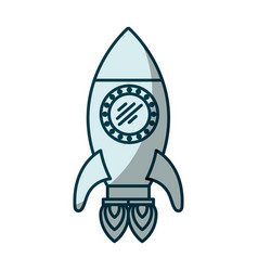 blue shading silhouette of space rocket with two vector image