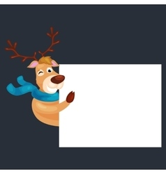 christmas deer with banner isolated happy winter vector image