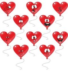 Emotion hearts balloon set vector image vector image