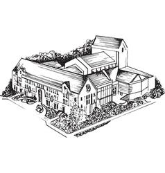 Old University Sketch vector image