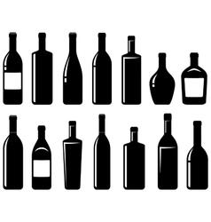 set of glossy wine bottles vector image