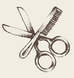 vintage hairdresser utensils vector image vector image