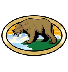 grizzly bear at the nature vector image