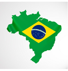 hanging brazil flag in form of map federative vector image