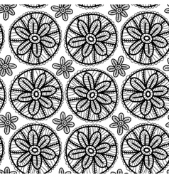 Lace seamless pattern with black flowers on white vector image vector image