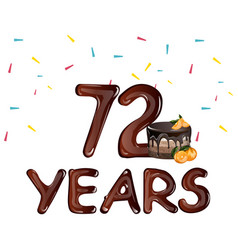 anniversary card 72 years vector image