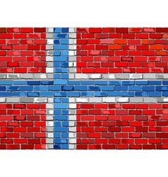 Flag of Norway on a brick wall vector image vector image
