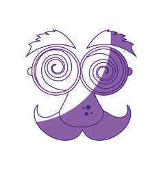funny face glasses mustache vector image vector image