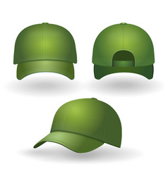 green baseball cap realistic set front side view vector image