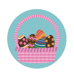 happy easter basket egg decoration icon vector image