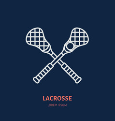 lacrosse line icon ball and sticks logo vector image