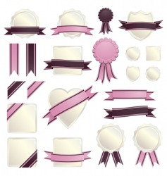 pink ribbons and seals vector image vector image