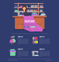 tailor shop banner with young woman vector image