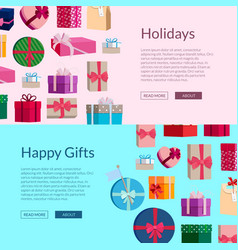 banners with a lot of gift boxes or vector image vector image