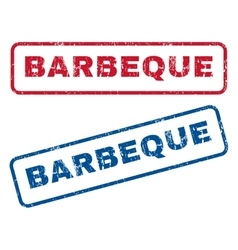 Barbeque rubber stamps vector