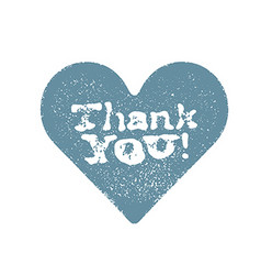 Blue stamped heart with Thank You text Isolated on vector image vector image