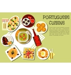 Bright national dishes of portuguese cuisine icon vector image vector image