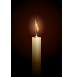 Burning candle on black background vector image vector image