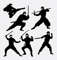 Ninja japanese warrior silhouettes vector image vector image