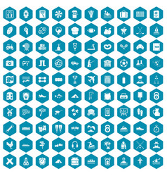 100 activity icons sapphirine violet vector