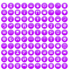 100 adult games icons set purple vector
