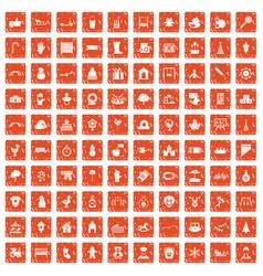 100 kindergarten icons set grunge orange vector