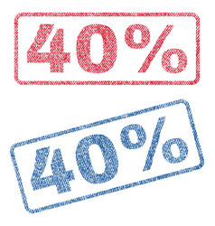 40 percent textile stamps vector image